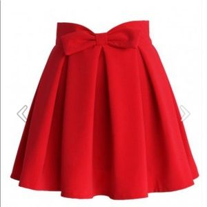 Chicwish Sweet Your Heart Bow Pleated Red Skirt